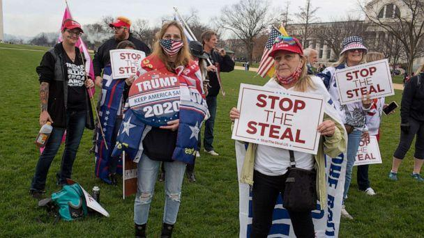 PHOTO: In this Dec. 12, 2020, file photo, Trump supporters attend a Stop the Steal rally in downtown Washington, D.C. (Andrew Lichtenstein/Corbis via Getty Images, FILE)