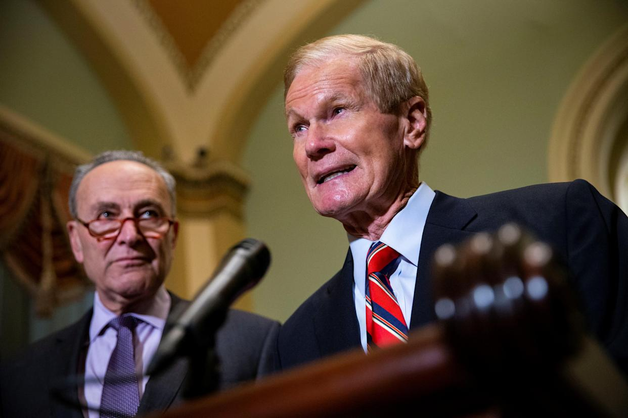 "<span class=""s1"">Sen. Bill Nelson speaks about the Florida election in Washington on Wednesday, alongside Senate Democratic leader Chuck Schumer. (Photo: Al Drago/Reuters)</span>"