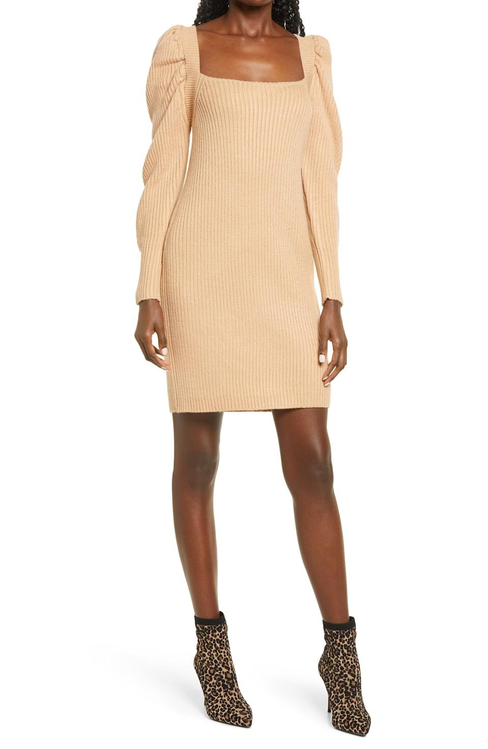 <p><span>WAYF Leland Long Sleeve Tie Back Sheath Sweater Dress</span> ($39, originally $98)</p>