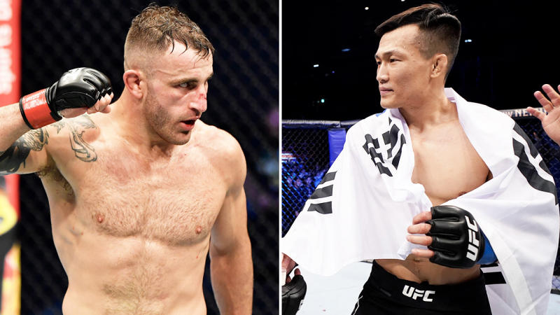 Alexander Volkanovski (pictured left) flexing after defeating Max Holloway and Chan Sung Jung (pictured right) shaking hands.