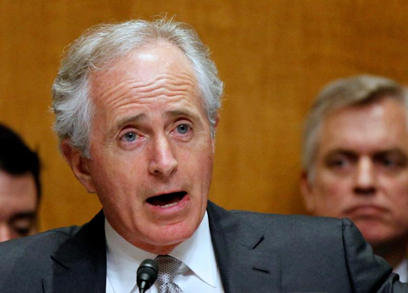 FILE - In this April 18, 2013 file photo, Sen. Bob Corker, R-Tenn. speaks on Capitol Hill in Washington. At the start of a crucial week for far-reaching immigration legislation backed by the White House, the Senate headed Monday for the first test vote on the measure offering the prize of U.S. citizenship to millions and pouring new technology and manpower into the border. (AP Photo/Molly Riley, File)
