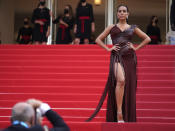 FILE - In this July 15, 2021 file photo Georgina Rodriguez poses for photographers upon arrival at the premiere of the film 'France' at the 74th international film festival, Cannes, southern France. (AP Photo/Brynn Anderson, File)