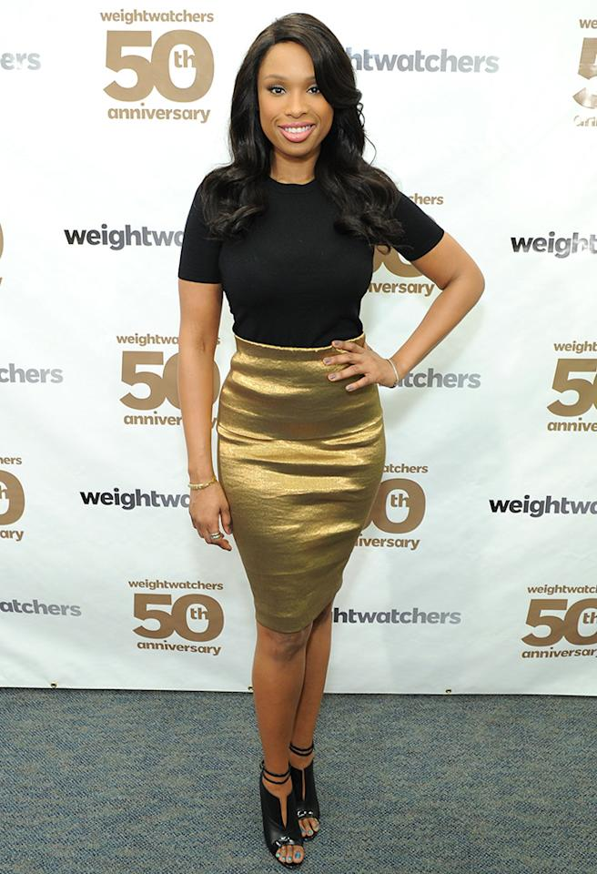Taking a cue from Sharon Stone, who famously donned a simple Gap top to the Oscars in 1996, Jennifer Hudson perfectly paired this black tee -- and $995 Christian Louboutin peep-toes -- with a gold Donna Karan pencil skirt for the Weight Watchers 50th anniversary celebration. Dream. Girl. (3/25/2013)