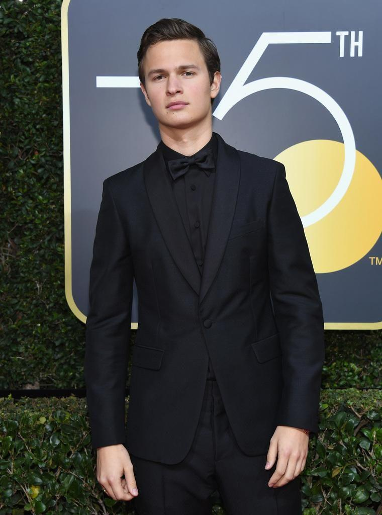 Actor Ansel Elgort arrives for the 75th Golden Globe Awards on January 7, 2018, in Beverly Hills, wearing all black to show his support. Source: Getty