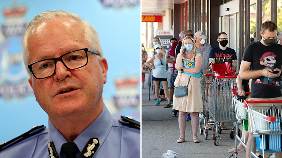 WA Police Commissioner Chris Dawson has given the public a stern warning about breaking lockdown rules. Source: AAP