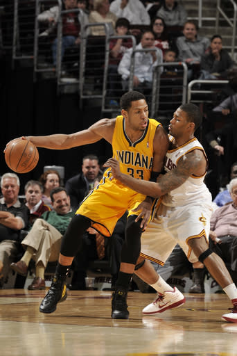 CLEVELAND, OH - APRIL 11: Danny Granger #33 of the Indiana Pacers backs the ball towards the basket against Alonzo Gee #33 of the Cleveland Cavaliers at The Quicken Loans Arena on April 11, 2012 in Cleveland, Ohio. (Photo by David Liam Kyle/NBAE via Getty Images)