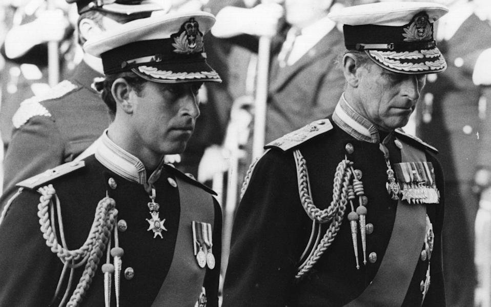 September 9, 1979: Prince Charles and Prince Philip attending the funeral of Lord Mountbatten - Fox Photos/Getty Images