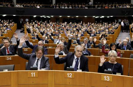 Members of European Parliament vote to decide whether to lift the EU parliamentary immunity of French far-right presidential candidate Marine Le Pen after she came under investigation for tweeting pictures of Islamic State violence, in Brussels, Belgium, March 2, 2017.  REUTERS/Yves Herman