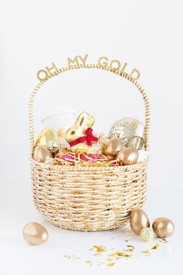 """<p>Looking for an Easter basket idea for teens? This glitzy gold version will make them feel like the grown-up that they claim to be. </p><p><em><a href=""""http://www.studiodiy.com/2015/03/30/oh-my-gold-easter-basket-for-your-gal-pals/"""" rel=""""nofollow noopener"""" target=""""_blank"""" data-ylk=""""slk:Get the tutorial from Studio DIY »"""" class=""""link rapid-noclick-resp"""">Get the tutorial from Studio DIY »</a></em> </p>"""