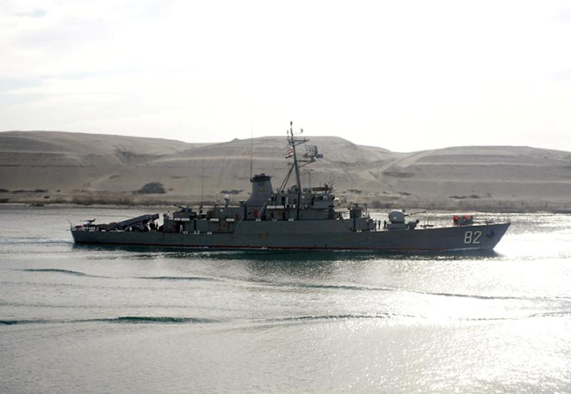 "Iranian corvette class vessel ""Shahid Naqdi"", sent by Tehran to the Mediterranean to help ""train the Syrian navy"", enters the Suez Canal early on February 21, 2012, on its way back to Iran"