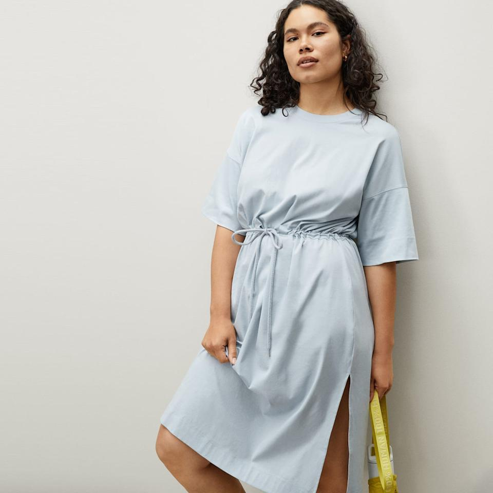 The Luxe Cotton Tie-Front Tee Dress in Sky. Image via Everlane.