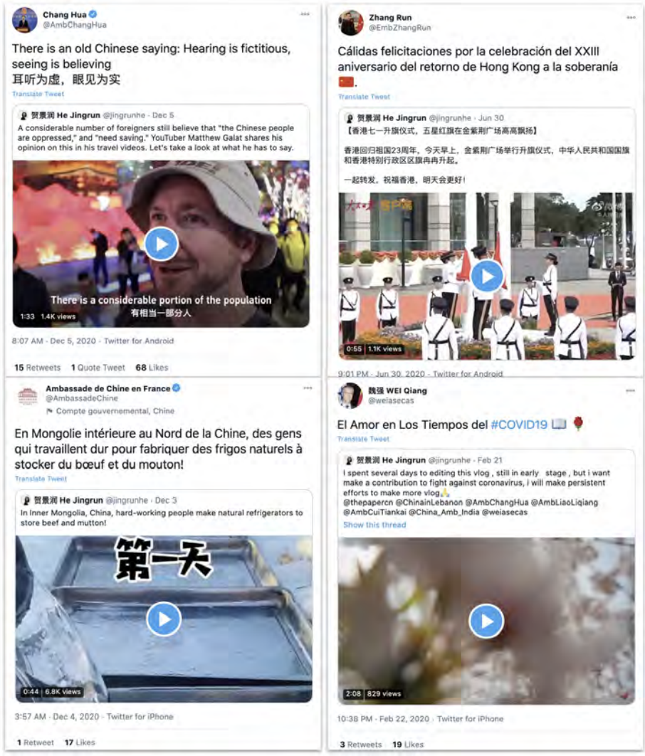 Tweets by He Jingrun being quoted by Chinese officials. Clockwise from the top left, the ambassador to Iran, the ambassador to the Dominican Republic, the ambassador to Panama and the embassy to France. Source: Graphika