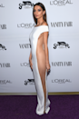 <p>Angela Sarafyan went for no sides for her white maxi gown at the 2017 Vanity Fair and L'Oreal Paris Toast.</p>