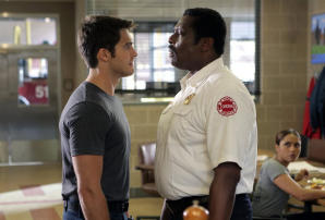 "CHICAGO FIRE -- ""The Hose or The Animal"" Episode 501 -- Pictured: (l-r) Steve McQueen as Jimmy Borelli, Eamonn Walker as Chief Wallace Boden -- (Photo by: Parrish Lewis/NBC)"