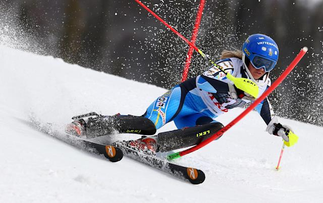 Sweden's Frida Hansdotter competes during the first run of an alpine ski women's World Cup slalom, in Are, Sweden, Saturday, March 8, 2014. (AP Photo/Alessandro Trovati)