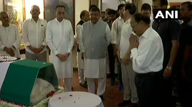<p>National Security Advisor Ajit Doval paying tributes to Vajpayee. </p>