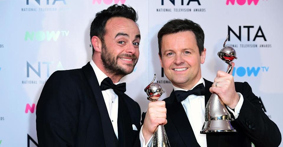 Ant and Dec receiving a National Television Award (PA Images)
