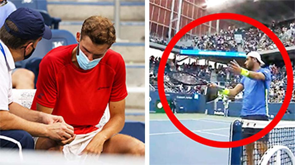Matteo Berrettini (pictured right) redirecting applause to his injured opponent (pictured left) Oscar Otte getting attended for an injury.