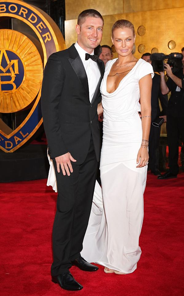 MELBOURNE, AUSTRALIA - FEBRUARY 15:  Michael Clarke and partner Lara Bingle arrive at the 2010 Allan Border Medal at Crown Casino on February 15, 2010 in Melbourne, Australia.  (Photo by Lucas Dawson/Getty Images)