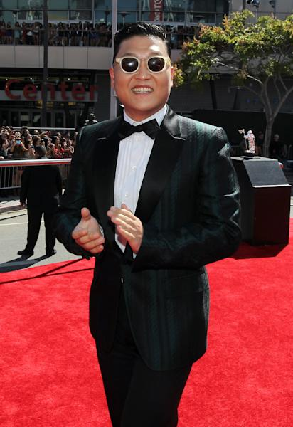 South Korean rapper PSY arrives at the MTV Video Music Awards on Thursday, Sept. 6, 2012, in Los Angeles. (Photo by Matt Sayles/Invision/AP)