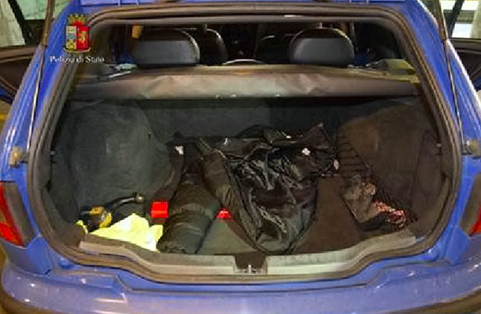 <em>The boot of the car where Ms Ayling was stuffed after arriving in Italy (Rex)</em>