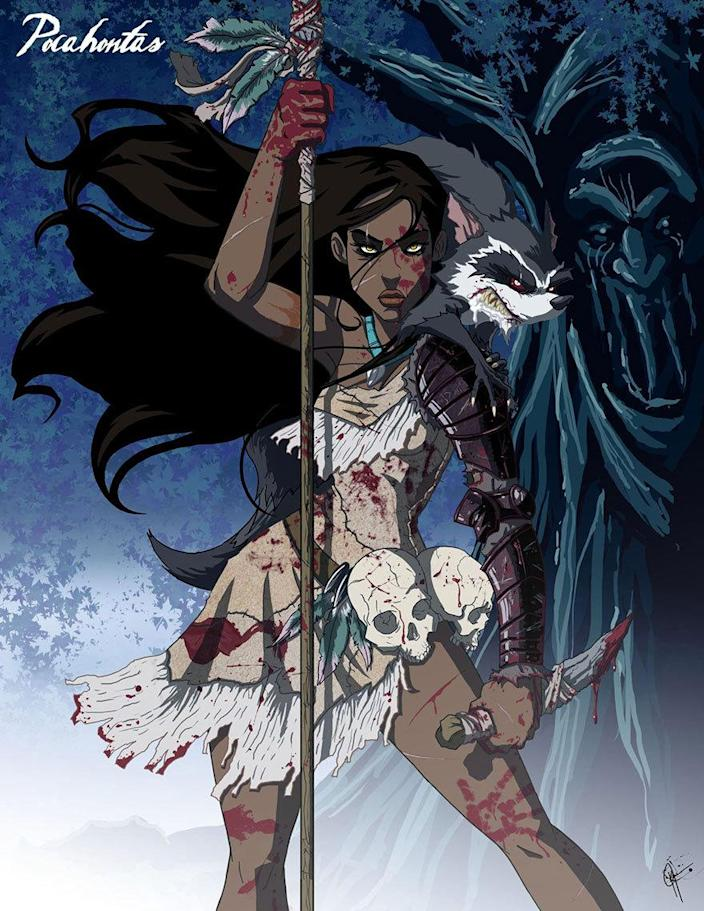 """<p>Then there's Pocahontas, the killer. Remember her friendly little raccoon, Meeko? You don't wanna mess with him. Bust out the fake blood for this one, if you dare! <i>(Photo: <a href=""""http://www.jeftoonportfolio.blogspot.com/"""" rel=""""nofollow noopener"""" target=""""_blank"""" data-ylk=""""slk:Jeffrey Thomas"""" class=""""link rapid-noclick-resp"""">Jeffrey Thomas</a>)</i><br></p>"""