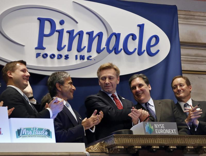 Pinnacle Foods Inc. CEO Bob Gamgort and company executives ring the opening bell, in celebration of the company's IPO at the New York Stock Exchange in this file photo