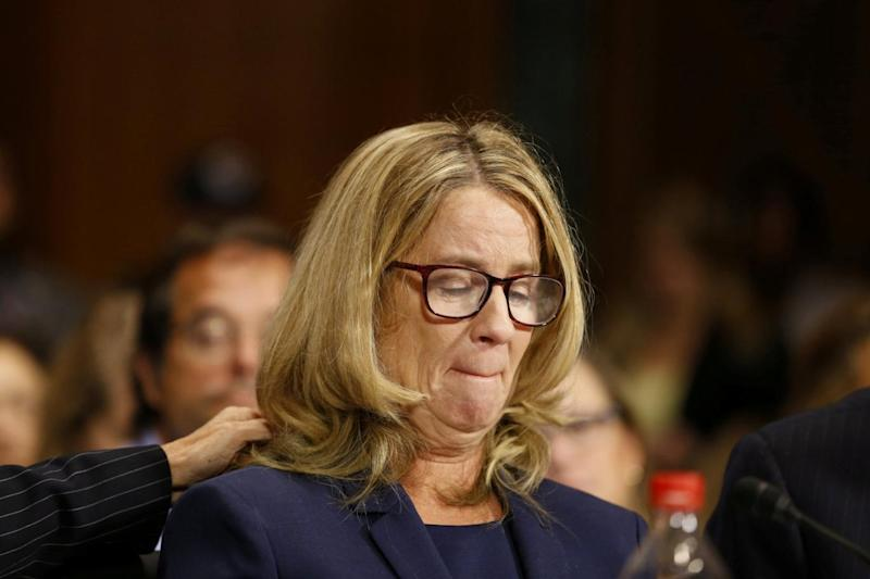 Christine Blasey Ford speaks before the Senate Judiciary Committee (REUTERS)
