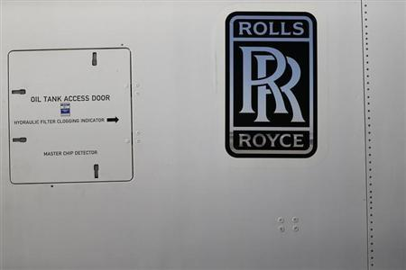 A Rolls-Royce logo is pictured on an Airbus A380 engine during the International Air and Space Fair (FIDAE) at the Santiago international airport