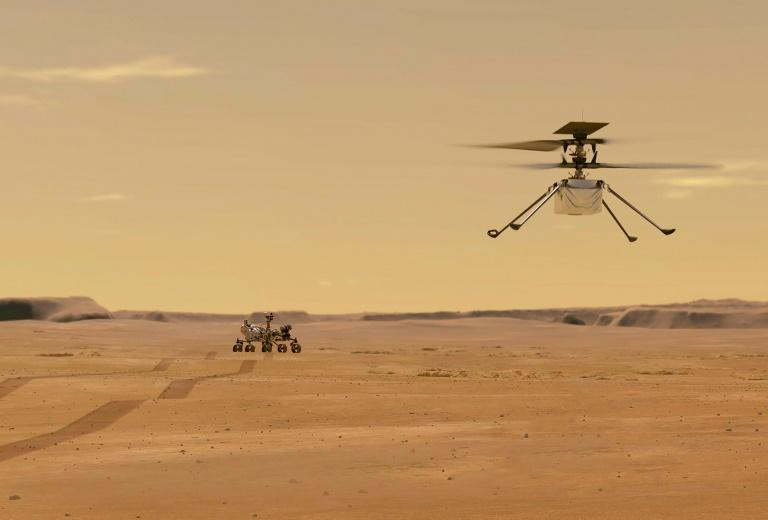 This NASA illustration depicts Mars Helicopter Ingenuity during a test flight on the Red Planet