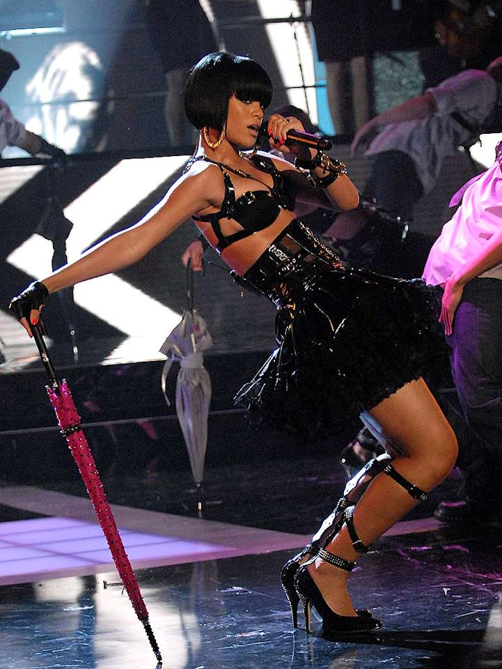 """Sexy singer Rihanna performs """"Umbrella"""" at the MTV Movie Awards. Kevin Mazur/<a href=""""http://www.wireimage.com"""" target=""""new"""">WireImage.com</a> - June 3, 2007"""