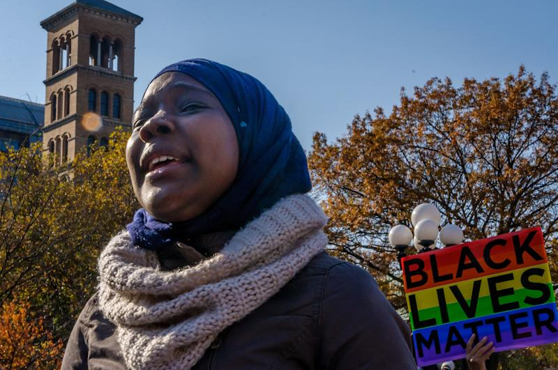 Students at New York University participate in arally for immigrants who study, live, and work at New York University to make their campus a #SanctuaryCampus as part of the movement to establish public spaces of resistance and protection for our country's most vulnerable people - including undocumented immigrants, Muslims, Black people, Queer people, and all people of color.