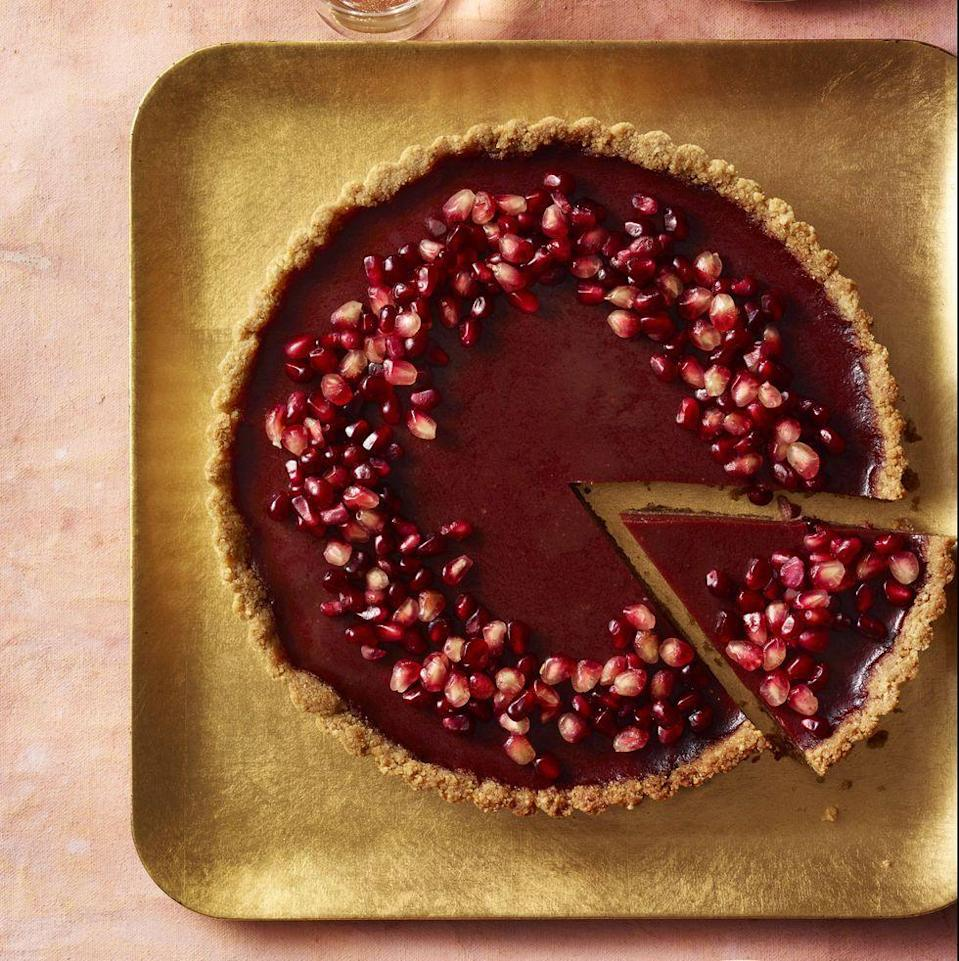 """<p>With pomegranates, oranges and beets (yes, really!), there are so many fruits and veggies snuck into this delightful dessert.</p><p><em><a href=""""https://www.prevention.com/food-nutrition/a30245445/pomegranate-orange-tart-recipe/"""" rel=""""nofollow noopener"""" target=""""_blank"""" data-ylk=""""slk:Get the recipe from Prevention »"""" class=""""link rapid-noclick-resp"""">Get the recipe from Prevention »</a></em></p>"""