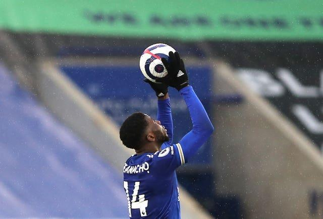 Leicester's Kelechi Iheanacho celebrates his hat-trick against Sheffield United
