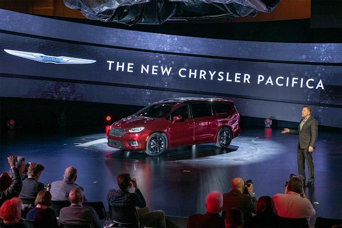 The new Chrysler Pacifica minivan in red debuting at the Chicago Auto Show. Could it be turned into an EV?