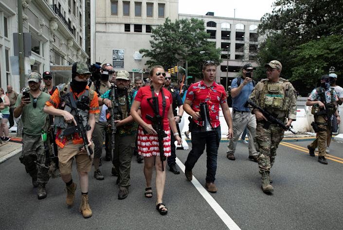 """Virginia state Sen. Amanda Chase walks through the crowd at a pro-gun rally in Richmond, Virginia, on July 4, 2020. She also joined the """"Stop the Steal"""" rally in Washington, D.C. on Jan. 6. (Photo: Julia Rendleman / Reuters)"""