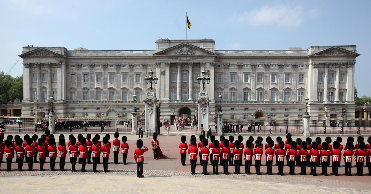 "<p>Royal relatives have <a href=""https://www.popsugar.com/celebrity/Buckingham-Palace-Facts-44006466"" class=""ga-track"" data-ga-category=""Related"" data-ga-label=""https://www.popsugar.com/celebrity/Buckingham-Palace-Facts-44006466"" data-ga-action=""In-Line Links"">inhabited the stately Buckingham Palace</a> for centuries, and it has been the official London residence of the sovereign since 1837. As a 10-year-old princess in 1936, <a href=""https://www.popsugar.com/celebrity/Queen-Elizabeth-II-Princess-Margaret-Pictures-45262609"" class=""ga-track"" data-ga-category=""Related"" data-ga-label=""https://www.popsugar.com/celebrity/Queen-Elizabeth-II-Princess-Margaret-Pictures-45262609"" data-ga-action=""In-Line Links"">Elizabeth moved into the palace with her family</a> when her father, George VI, became king - and <a href=""https://www.popsugar.com/celebrity/How-Old-Elizabeth-II-When-She-Became-Queen-43379315"" class=""ga-track"" data-ga-category=""Related"" data-ga-label=""https://www.popsugar.com/celebrity/How-Old-Elizabeth-II-When-She-Became-Queen-43379315"" data-ga-action=""In-Line Links"">since her own reign began</a> in 1952, the queen has worked there, too. </p> <p>Buckingham Palace boasts 775 rooms and functions as a home, office, art gallery, and year-round tourist attraction. It also serves as the site of many official visits with world leaders and <a href=""https://www.popsugar.com/home/Queen-Elizabeth-Castles-38347951"" class=""ga-track"" data-ga-category=""Related"" data-ga-label=""https://www.popsugar.com/home/Queen-Elizabeth-Castles-38347951"" data-ga-action=""In-Line Links"">a celebratory space for the royal family</a>. We often see the entire brood step out onto Buckingham's famous balcony <a href=""https://www.popsugar.com/celebrity/What-Trooping-Colour-43645079"" class=""ga-track"" data-ga-category=""Related"" data-ga-label=""https://www.popsugar.com/celebrity/What-Trooping-Colour-43645079"" data-ga-action=""In-Line Links"">for Trooping the Colour</a>, as well as after <a href=""https://www.popsugar.com/celebrity/British-Royal-Wedding-Pictures-44606155"" class=""ga-track"" data-ga-category=""Related"" data-ga-label=""https://www.popsugar.com/celebrity/British-Royal-Wedding-Pictures-44606155"" data-ga-action=""In-Line Links"">big royal weddings</a>!</p>"
