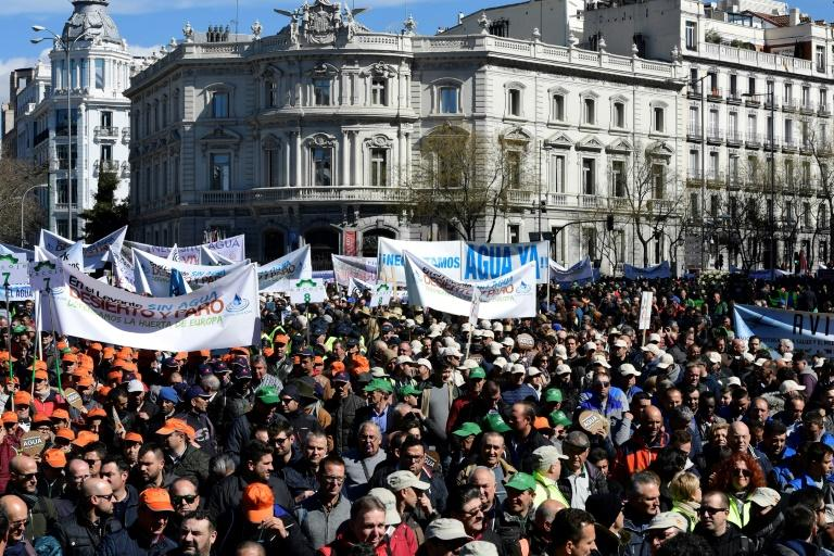 """Thousands of farmers from Spain's parched southeast, march in Madrid to ask the government for help as their crops are threatened by a """"surreal"""" drought that is also putting jobs at risk"""