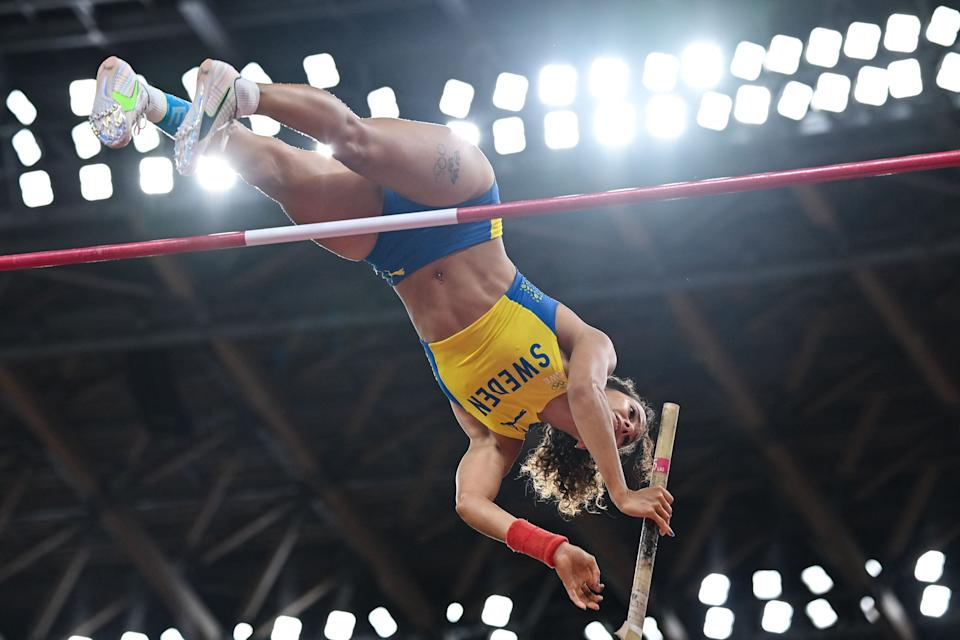 <p>Sweden's Angelica Bengtsson competes in the women's pole vault qualification during the Tokyo 2020 Olympic Games at the Olympic Stadium in Tokyo on August 2, 2021. (Photo by Andrej ISAKOVIC / AFP) (Photo by ANDREJ ISAKOVIC/AFP via Getty Images)</p>