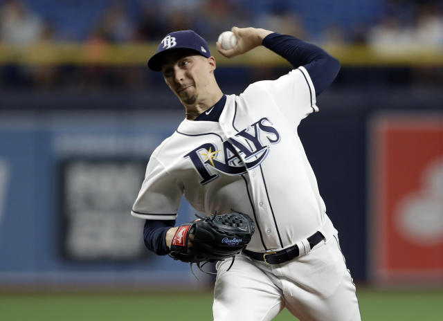 Tampa Bay Rays' Blake Snell pitches to the Toronto Blue Jays during the first inning of a baseball game Wednesday, May 29, 2019, in St. Petersburg, Fla. (AP Photo/Chris O'Meara)