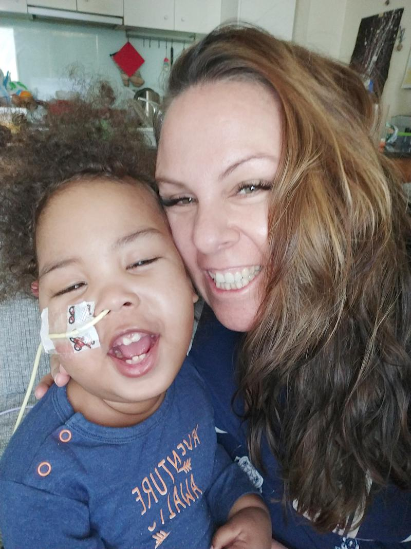 Jahleel poses for selfie with his mum Rebecca Marsh