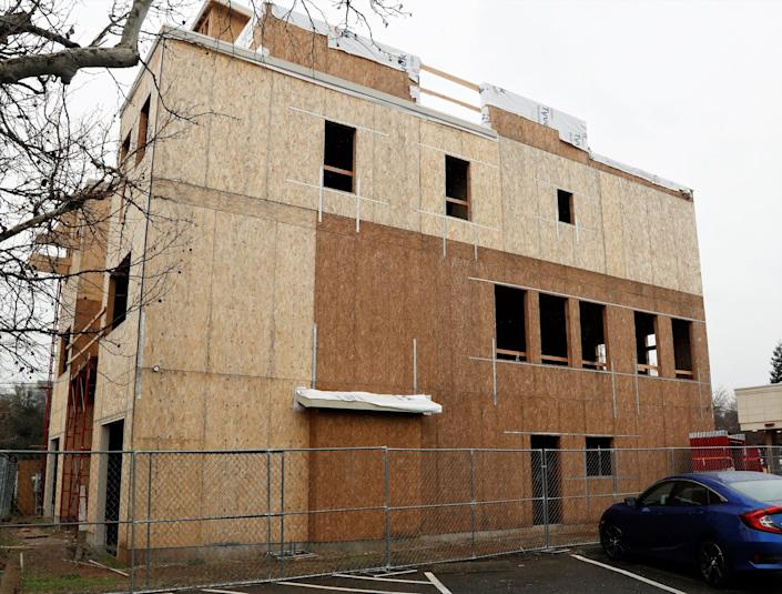 House of Roses townhomes under construction on Oregon Street in downtown Redding.