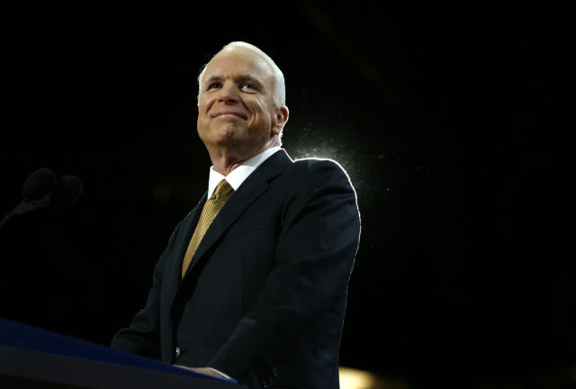 Sen. John McCain, R-Ariz., arrives to accept the Republican presidential nomination at the 2008 Republican National Convention in St. Paul, Minn., on Sept. 4, 2008. (Photo: Shannon Stapleton/Reuters)