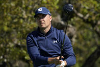 Jordan Spieth watches his drive from the second tee during the first round of the Texas Open golf tournament, Thursday, April 1, 2021, in San Antonio. (AP Photo/Eric Gay)