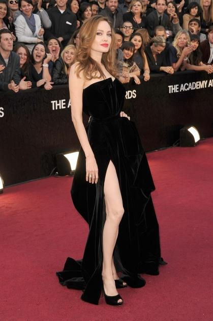 Angelina Jolie shows some leg at the 84th Annual Academy Awards held at the Hollywood & Highland Center in Hollywood on February 26, 2012  -- Getty Images