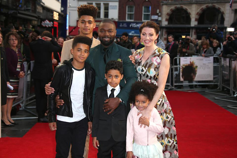 Actors David Oyelowo, Jessica Oyelowo and family pose for photographers upon arrival at the premiere of the film 'Queen of Katwe', during the London Film Festival in London, Sunday, Oct. 9, 2016. (Photo by Joel Ryan/Invision/AP)