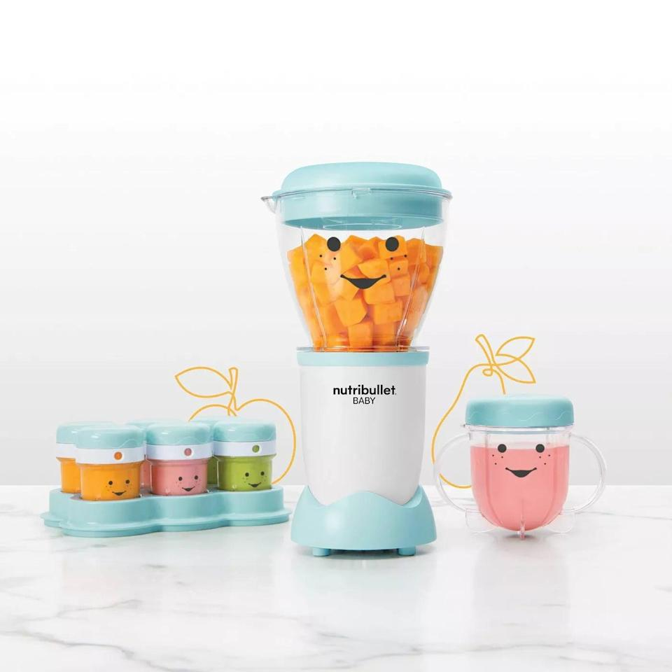 <p>The <span>NutriBullet Baby Food Prep System</span> ($60) will make your life easier. Prepare and meal-prep for your baby all in one system. All it takes is a few moments to wash and rinse the bowl, cups, and lids.</p>