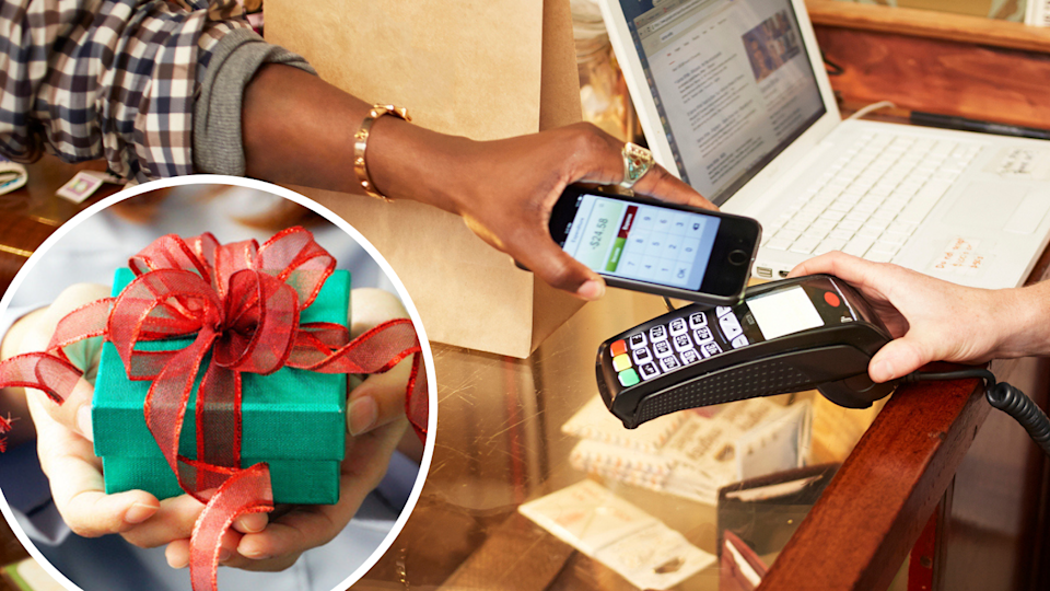 Image of someone paying via tap and go; image of Christmas present in hand