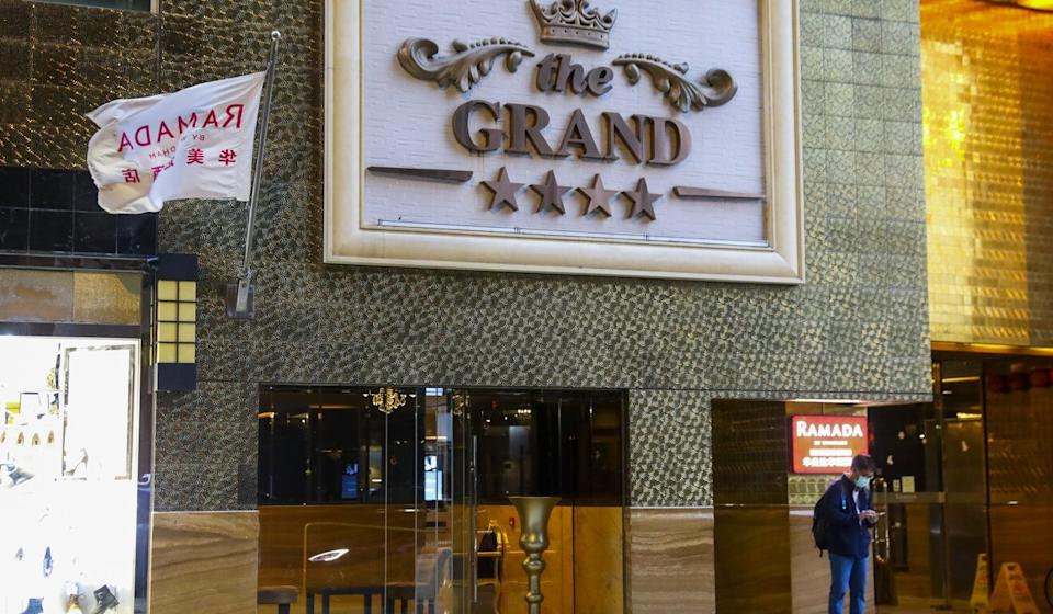 The main entrance of the Ramada Hong Kong Grand, which made the government's list of quarantine-only hotels. Photo: Dickson Lee