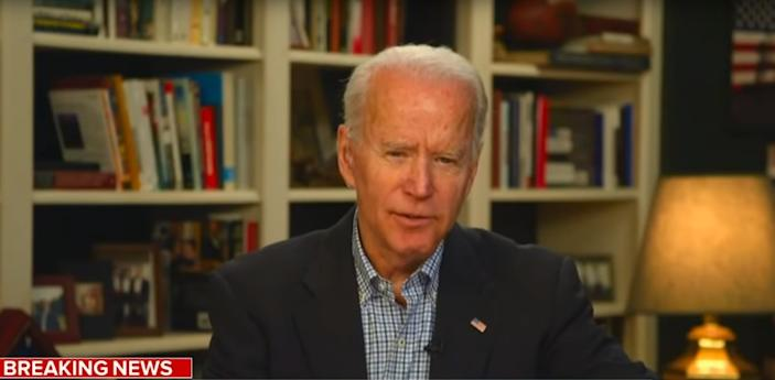 WILMINGTON, DE., -Former Vice President, Joe Biden speaks to the media through video chat from his home in Wilmington, DE. (SCREEN GRAB FROM CNN)